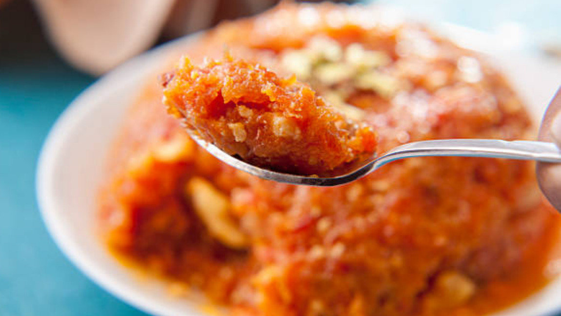 A bowl of gajar (carrot) halwa.