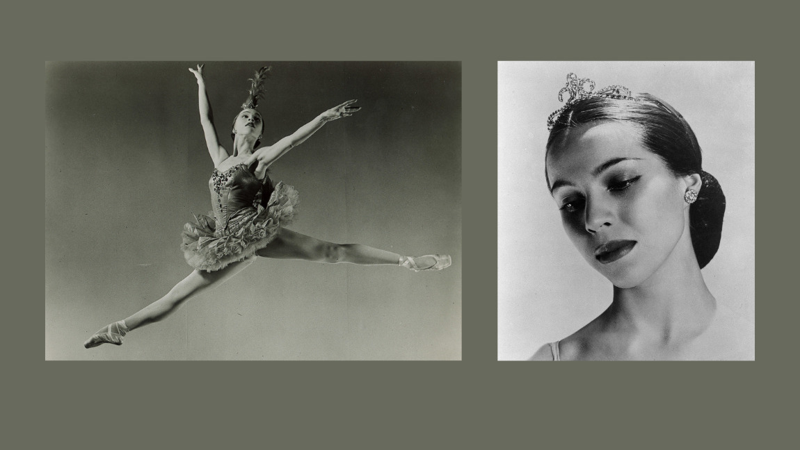 Two black-and-white photographs; one of Maria Tallchief looking down, and another of Maria Tallchief leaping