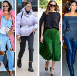 Winter looks collage of celebrities - Jennifer Lopez, Rihanna, Bella Hadid, Olivia Palermo, Kim Kardashian and Ashley Graham.