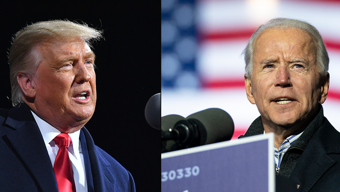 A photo of Trump and of Biden, giving speeches at rallies.