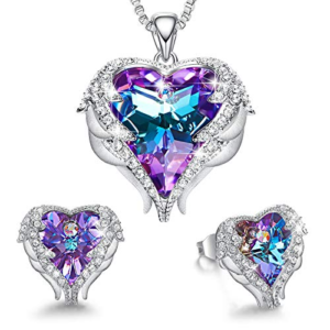 Blue and purple crystal wrapped in the Platinum Plated angel wing, glitters and sparkles [Via Amazon]