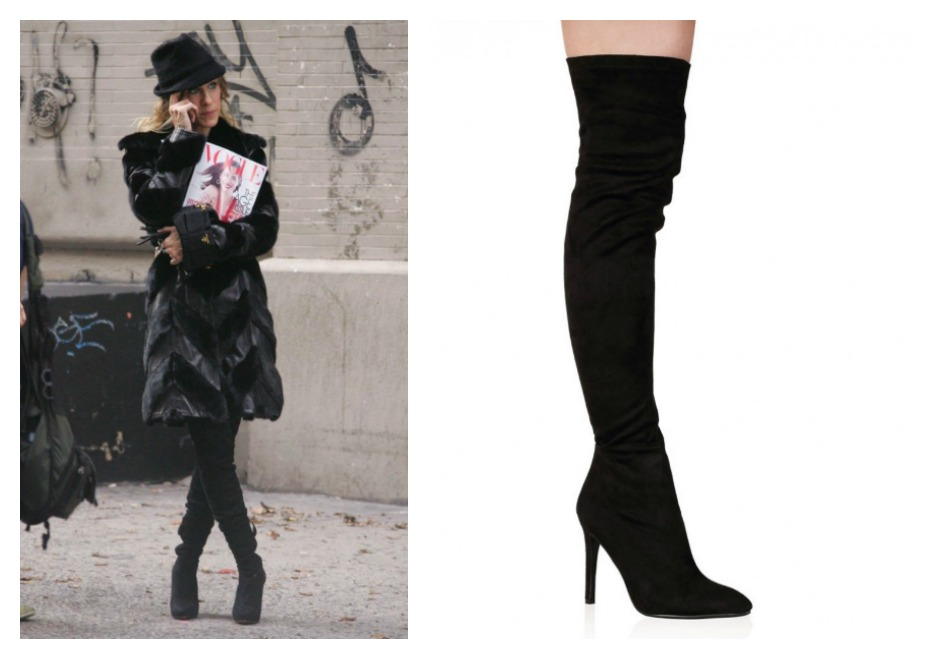 Carrie Bradshaw's black knee-length boots paired with a black coat and hat, as she's holding a copy of Vogue Magazine. The second image is close up shot of black knee-high boots
