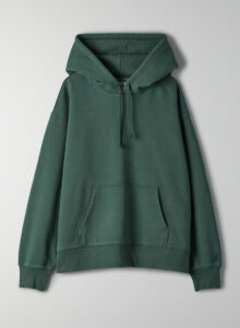 A dark green hoodie with a front pocket.