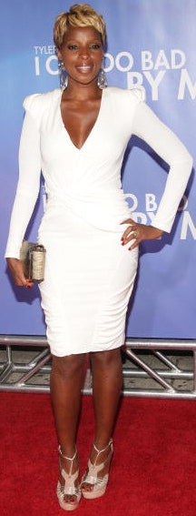 Mary J. Blige in a white dress