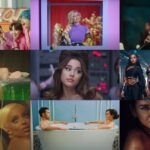 A collage of nine pictures of from music videos from the songs featured in the article. The first row from left to right is BTS, salem ilese, and H.E.R. The second row is Selena Gomez, Ariana Grande, and Little Mix. The third row is Doja Cat, MAX, and Miley Dua Lipa.