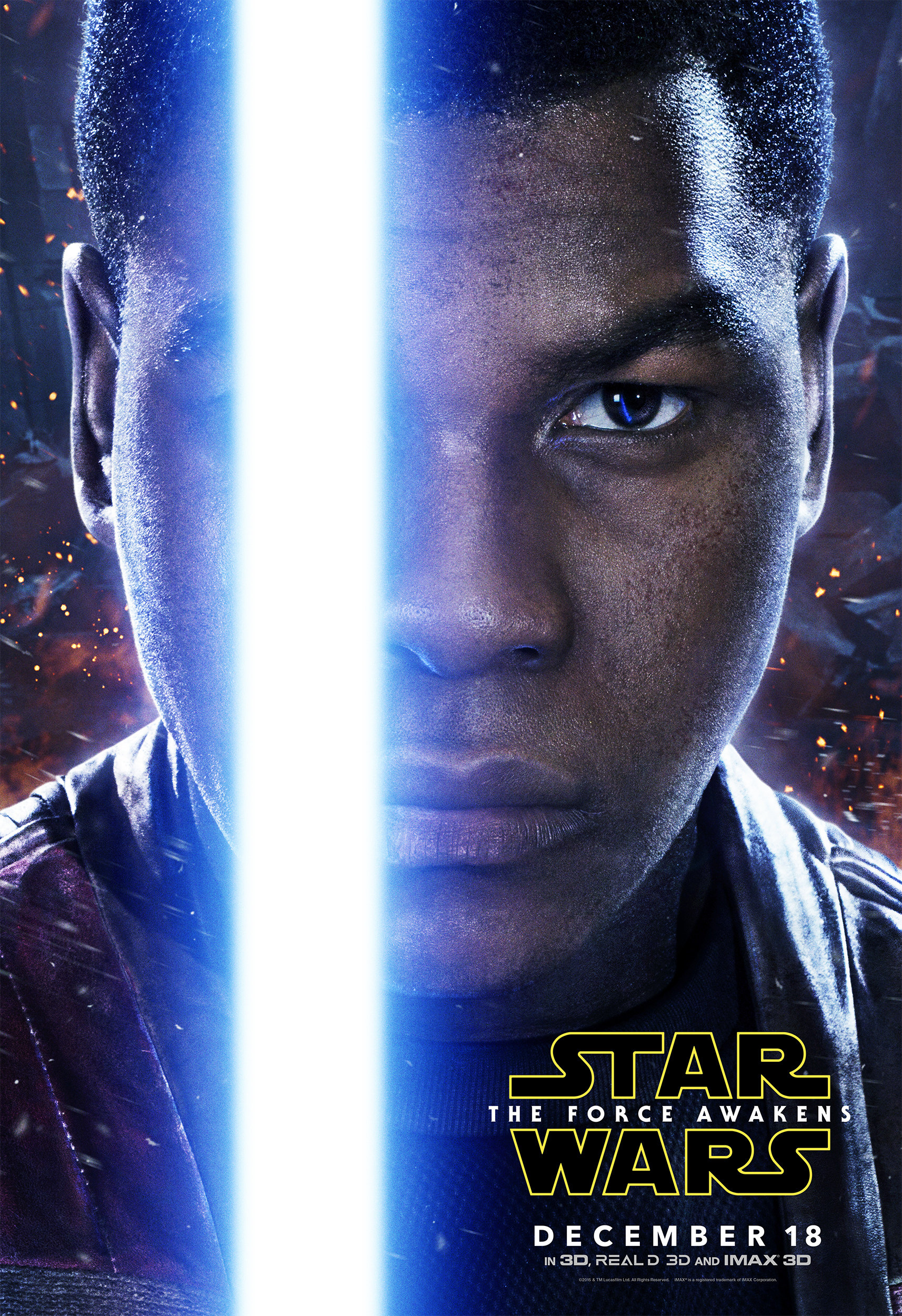 A poster featuring Finn with a lightsaber.