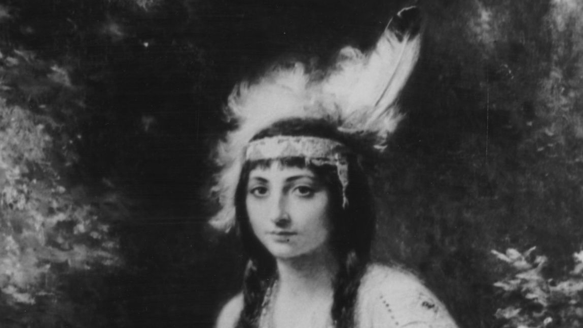 A painting of Pocahontas done in 1614,by Jean Leon Gerome Ferris.