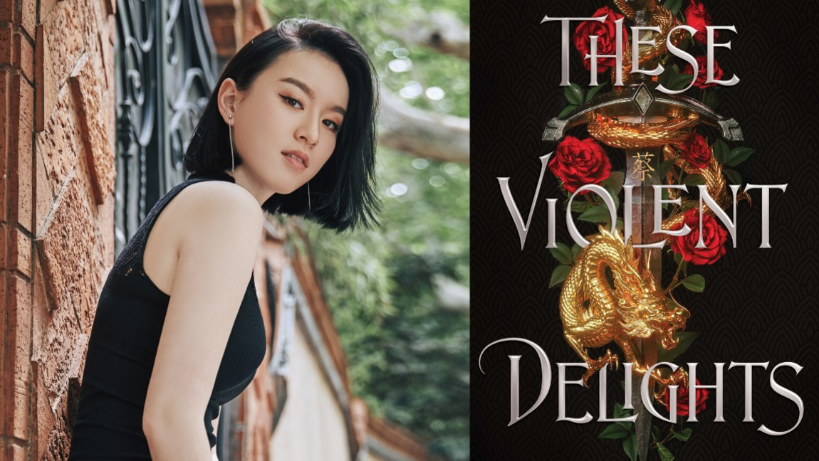 Author Chloe Gong and the cover of her debut novel, These Violent Delights.