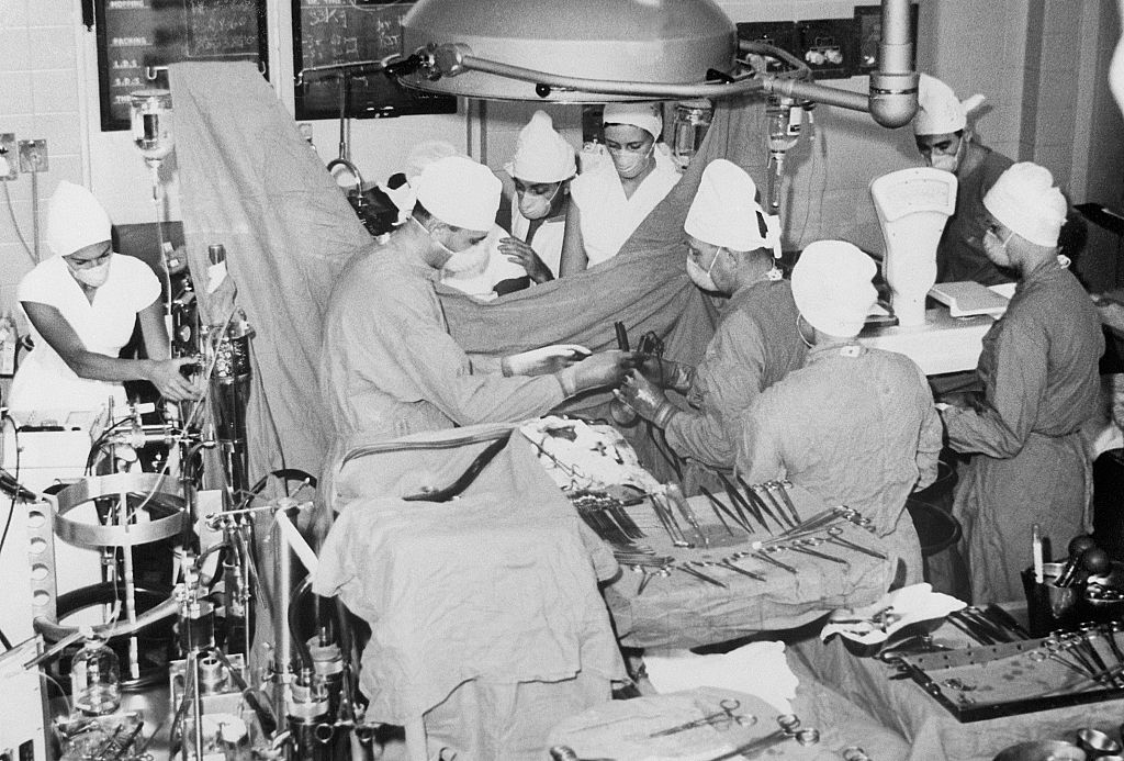 A photograph of the first heart transplant.