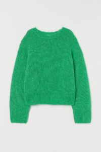 A bright green knit-wool sweater.
