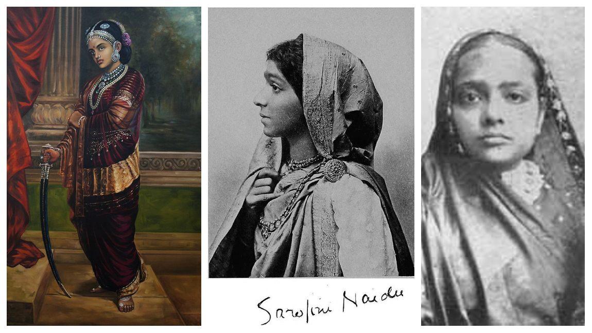 A collage of a few of India's political activists and freedom fighters; Jhansi ki Rani (left), Sarojini Naidu (middle), and Kasturba Gandhi (right).