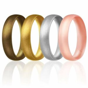 4 Silicon wedding bands in the colors: brown, golden, silver, pink.