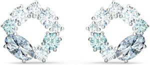 Swarovski Attract Circle Stud Pierced Earrings with Multicolored Blue Crystals on a Rhodium Plated Post [Via Amazon]