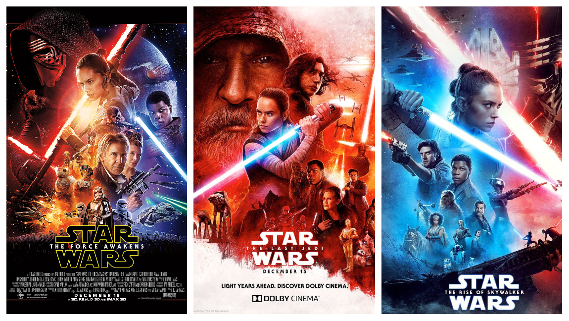 The promotional posters for the Star Wars sequel trilogy - The Force Awakens, The Last Jedi, and The Rise of Skywalker.