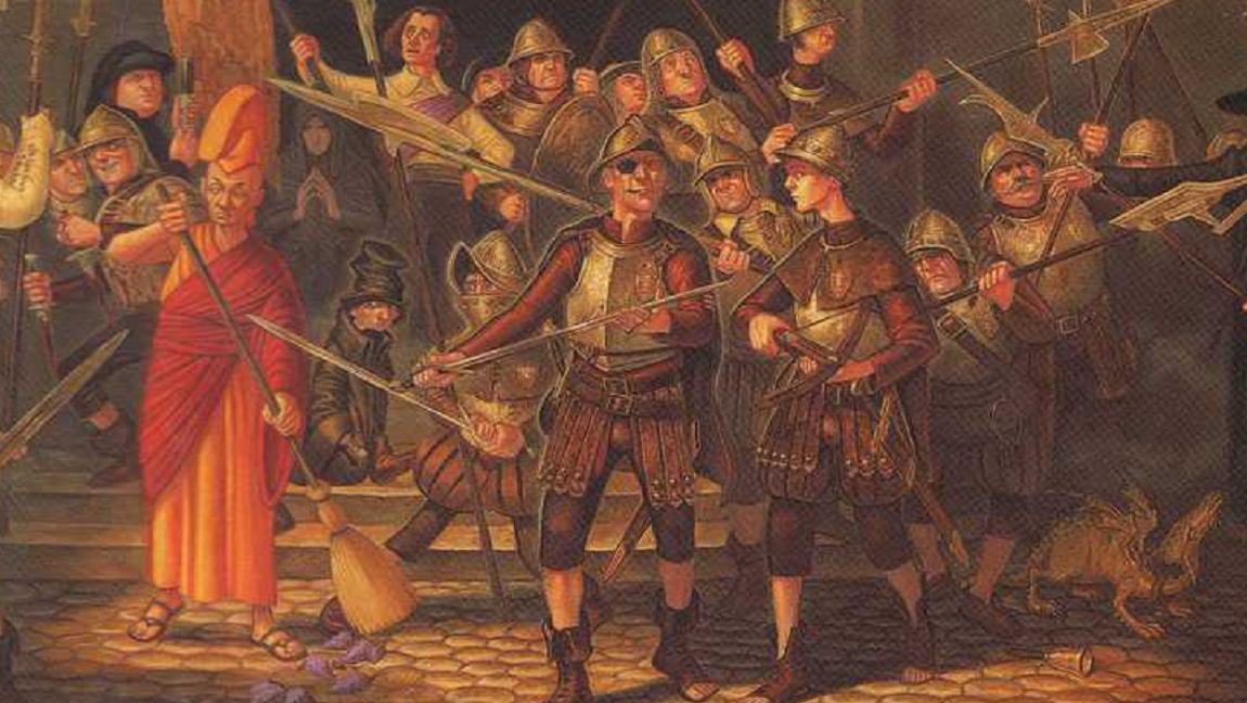 An illustration of the City Watch during a revolution in Ankh-Morpok, in the novel 'Night Watch'.