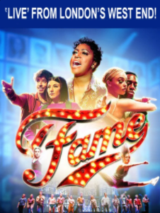 A West End promotional poster for Fame with its main cast featured on the front.