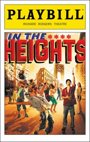 An image of the playbill that was used during In the Heights run on Broadway.