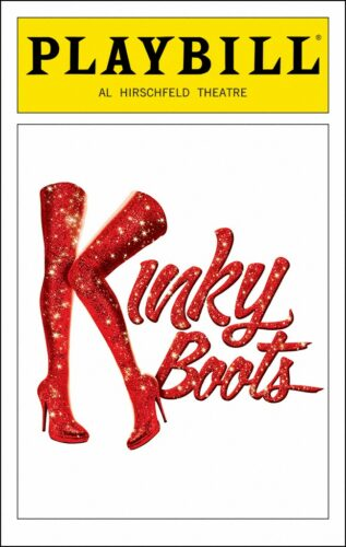 An image of the playbill for Kinky Boots on Broadway.