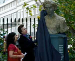 Shrabani Basu with Princess Anne at the unveiling of the Noor Inayat Khan bronze bust in central London on November 8, 2012