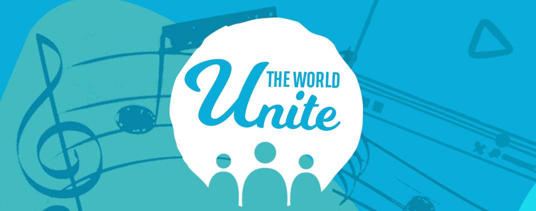 Graphic design with a green and blue background and musical notes that says 'Unite The World'