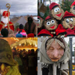 Clockwise from upper left: Pictures of Père Fouettard with Père Noel, Tió de Nadal, Grýla and Leppalúði, and Frau Perchta