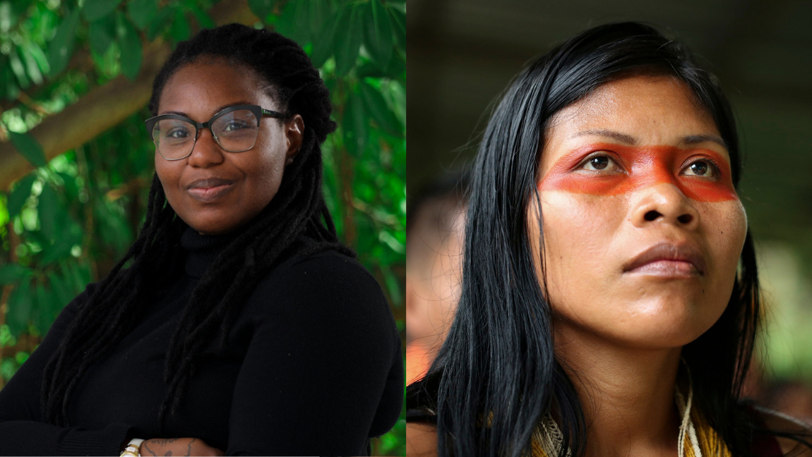 Two images, one of Kristal Ambrose staring at the camera, and one of Nemonte Nenquimo looking up