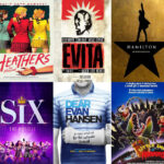 A collage of musical theatre posters.
