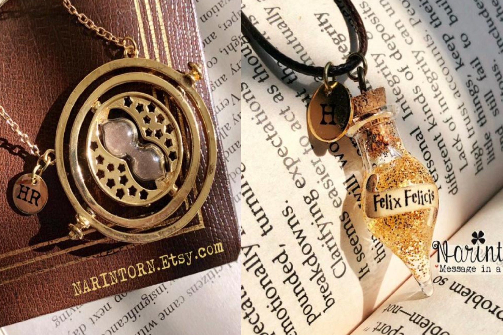 Image of Time Turner necklace and Felix Felicis Necklace