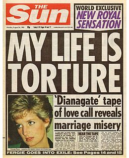 """[Image description: cover of the newspaper The Sun with a picture of Diana and the headline """"My life is torture"""".] Via The Sun."""