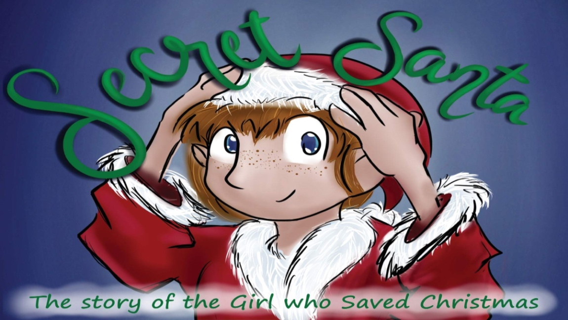 "A picture of the cover of ""Secret Santa."" The main character, Samantha Claus, is wearing a Santa costume and hat. The cover says ""Secret Santa"" across the top in large green lettering. Then it says ""The story of the girl who saved Christmas"" at the bottom in green lettering as well."