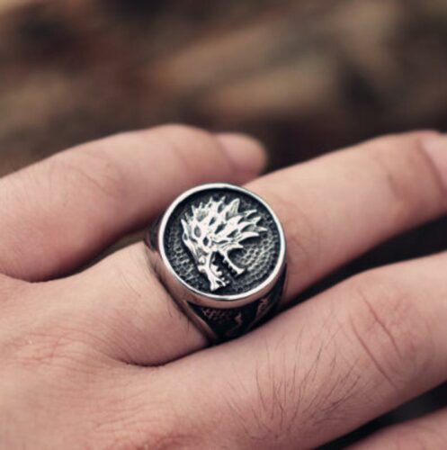 House Stark Direwolf Ring Game Of Thrones Winter Is Coming Stainless Steel Ring Mens Jewelry Gift For Him US Sizes 8/9/10/11/12/13