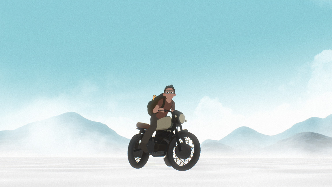 [Image description: A still from 'Away': a boy riding a motorcycle in a wasteland] Via Strike Media