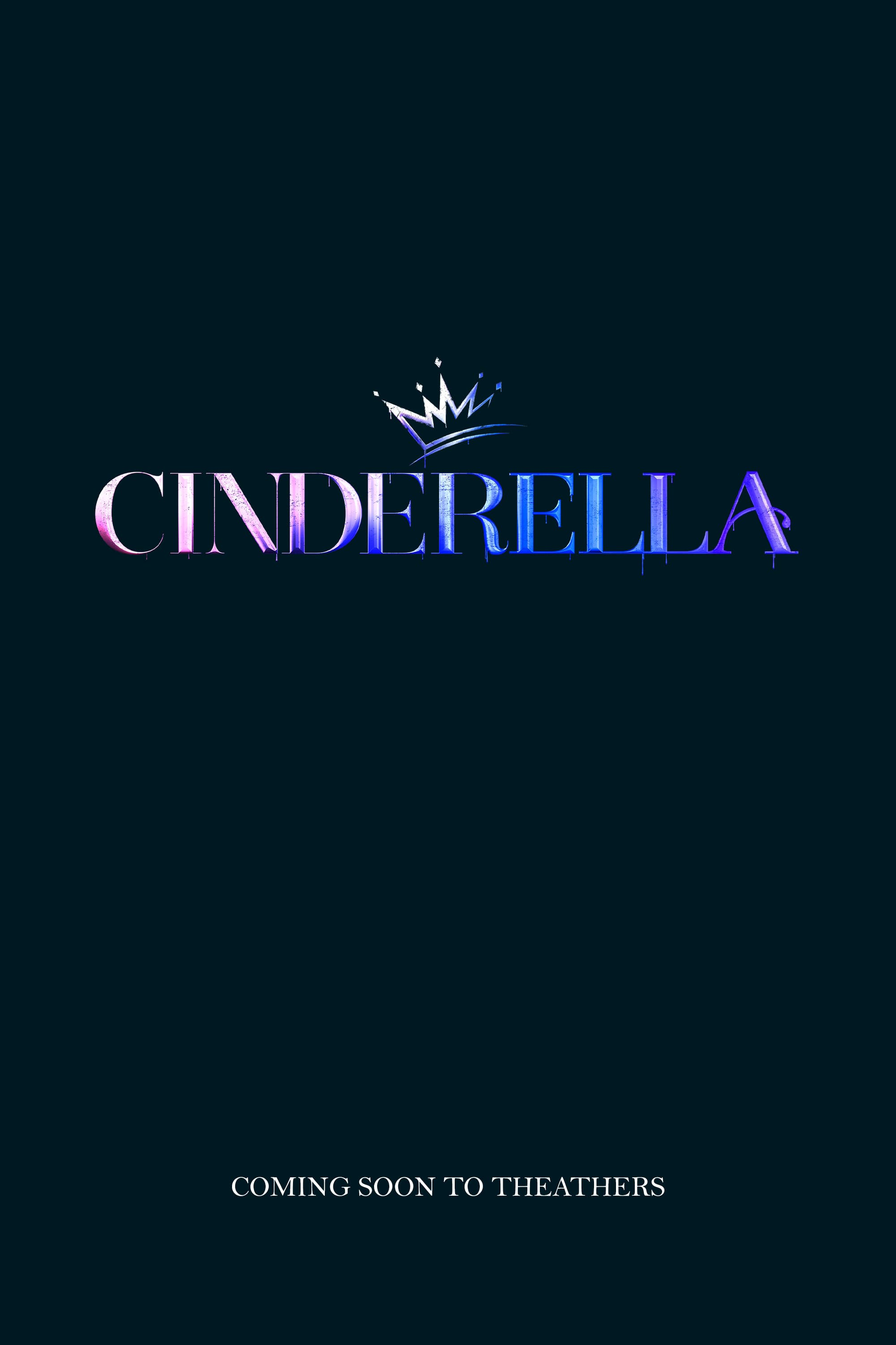 Cinderella written in all caps with a crown on top of the R