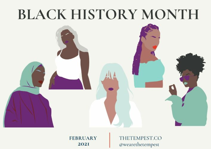 [Image Description: An illustrated graphic featuring several Black women with the text saying Black History Month in capital letters] Via The Tempest