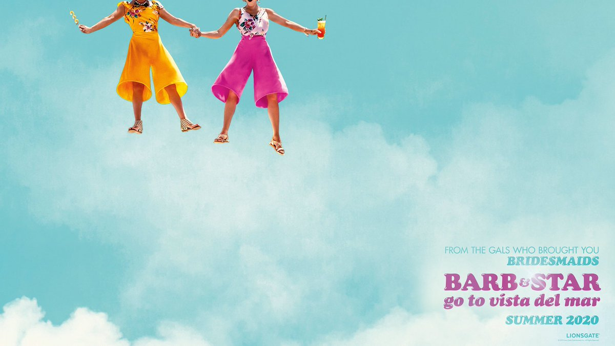 Image of the sky and clouds with the waist down of Barb and Star who are in bright pink and yellow pants