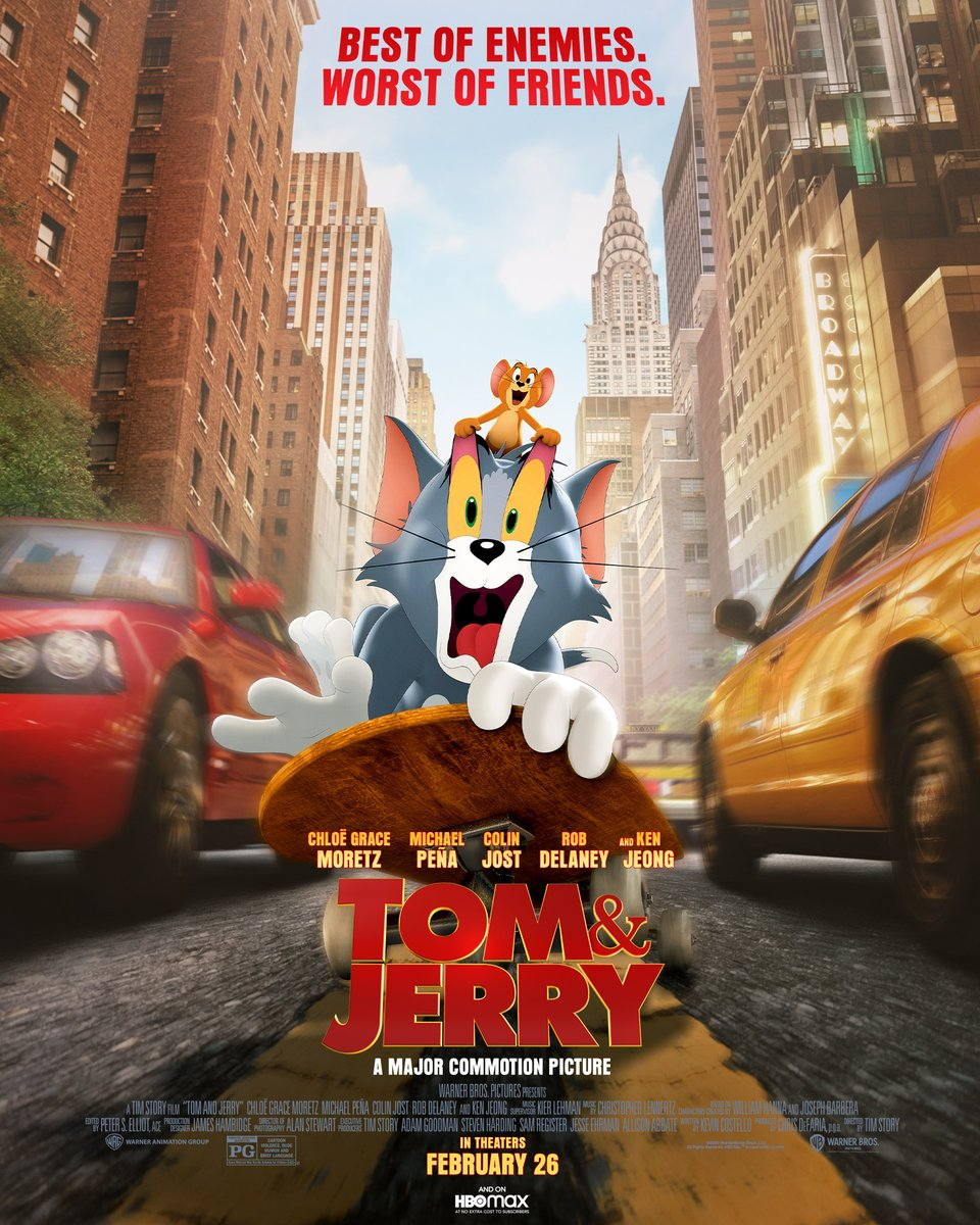 Tom on a skateboard in the middle of blurred traffic with Jerry on top of him holding onto Tom's eyelids