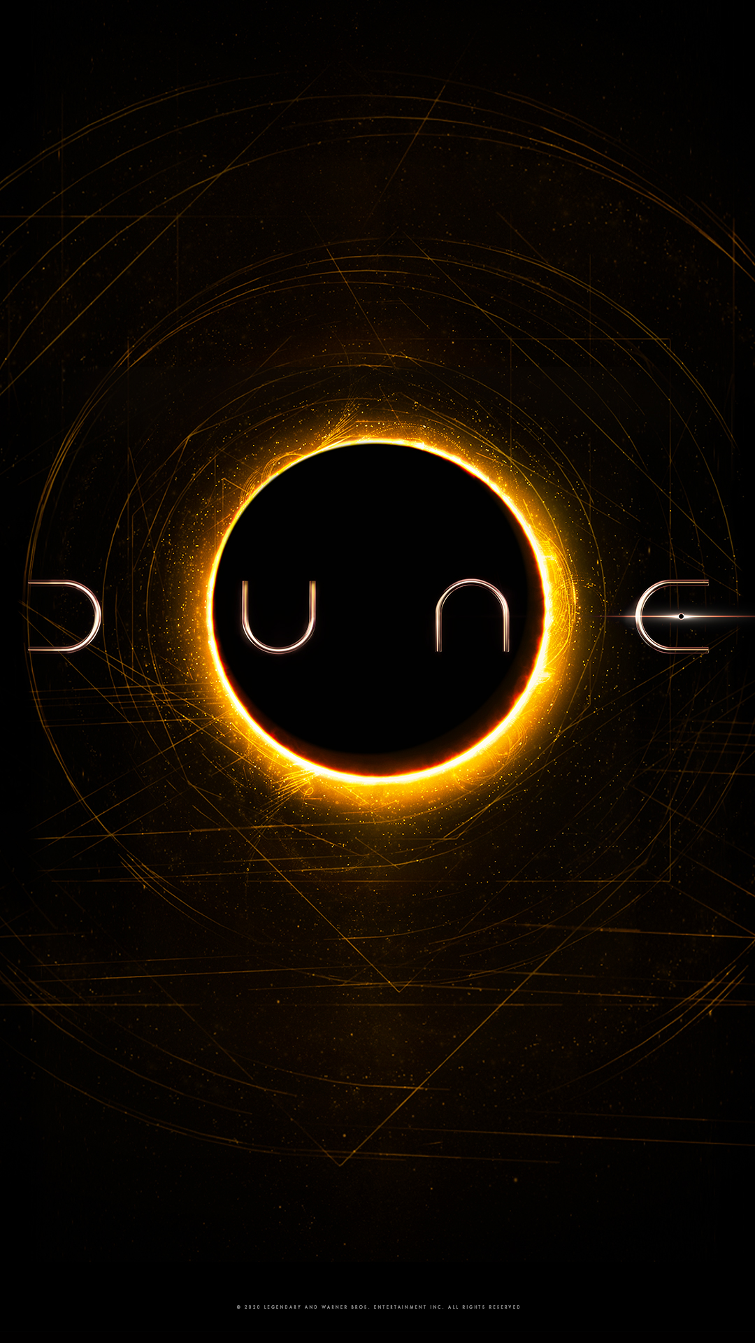 Dune movie image of the title and a lunar eclipse underneath from IMDb