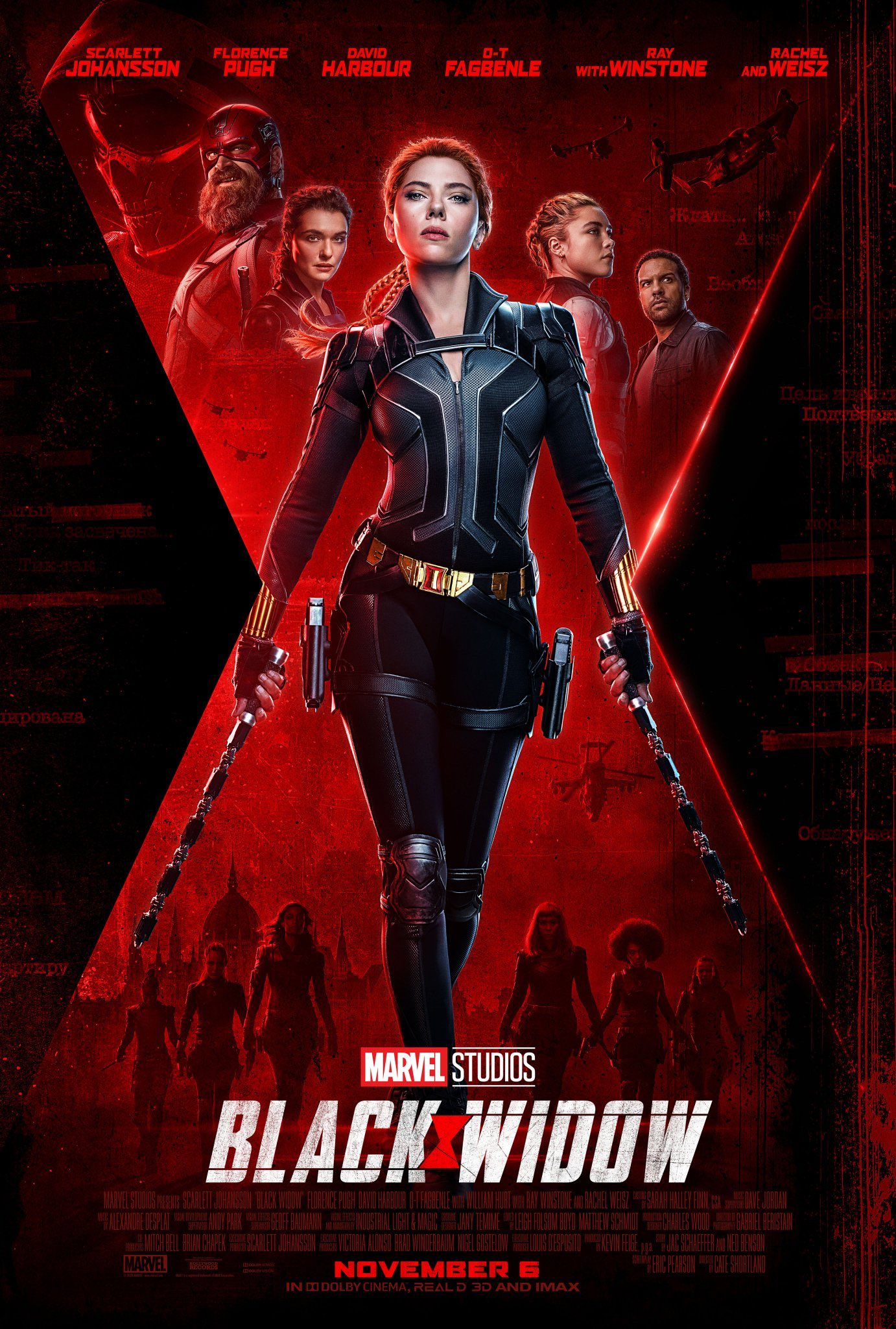 A big thick X in the back with Black Widow in the center