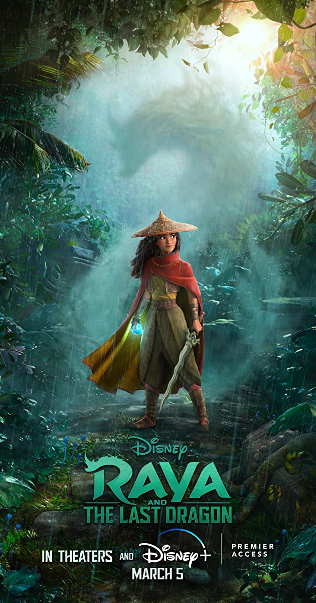 Raya in her signature outfit and hat with a sword standing in a forest