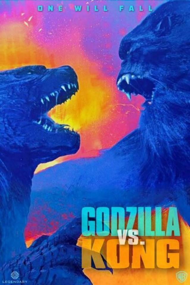 Godzilla vs. Kong movie poster of them fighting with a neon background