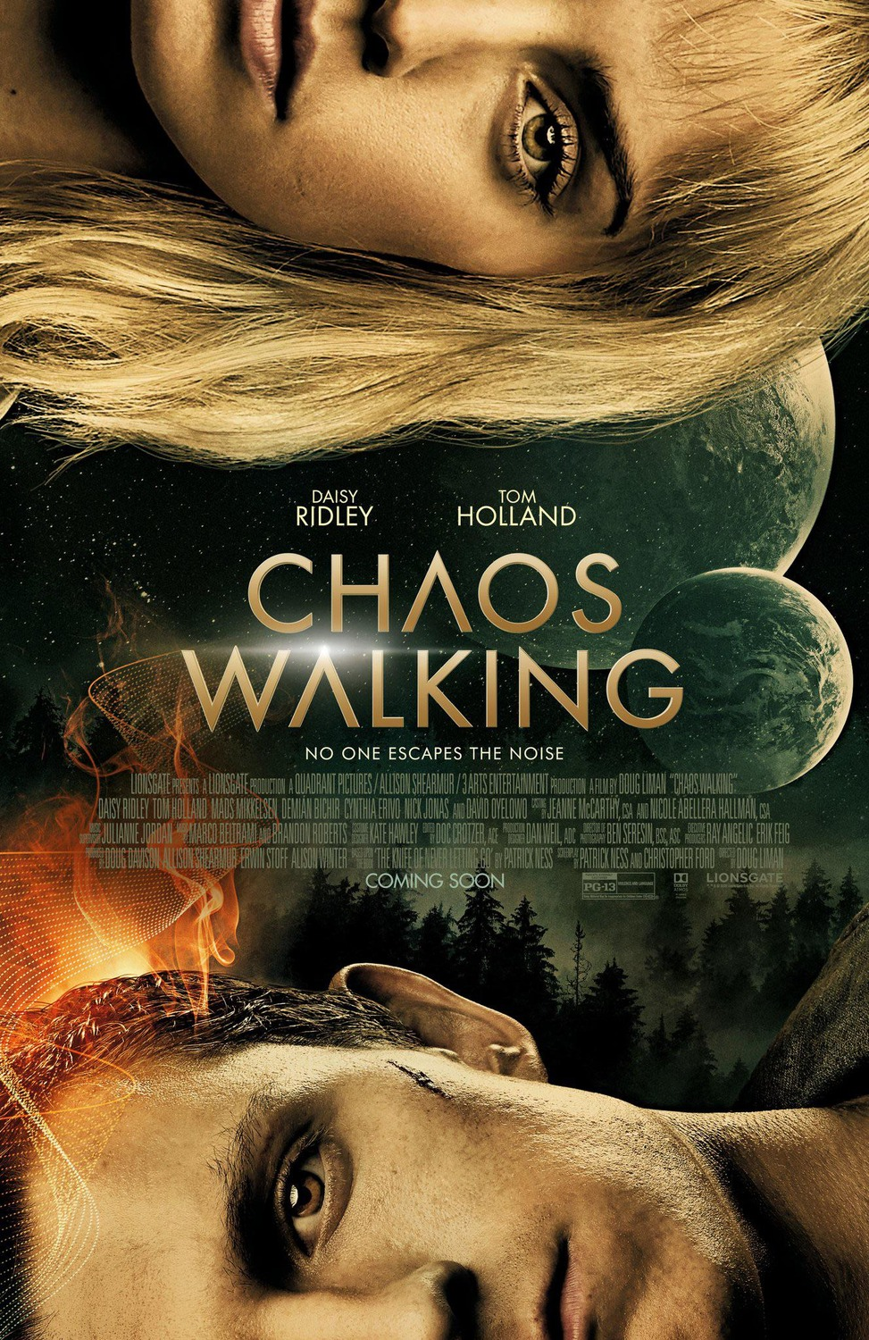 Chaos Walking in caps with moon and forest behind it. Half (horizontally) of Holland and Ridley's faces are on opposite sides of the poster, hers at the his at the bottom.