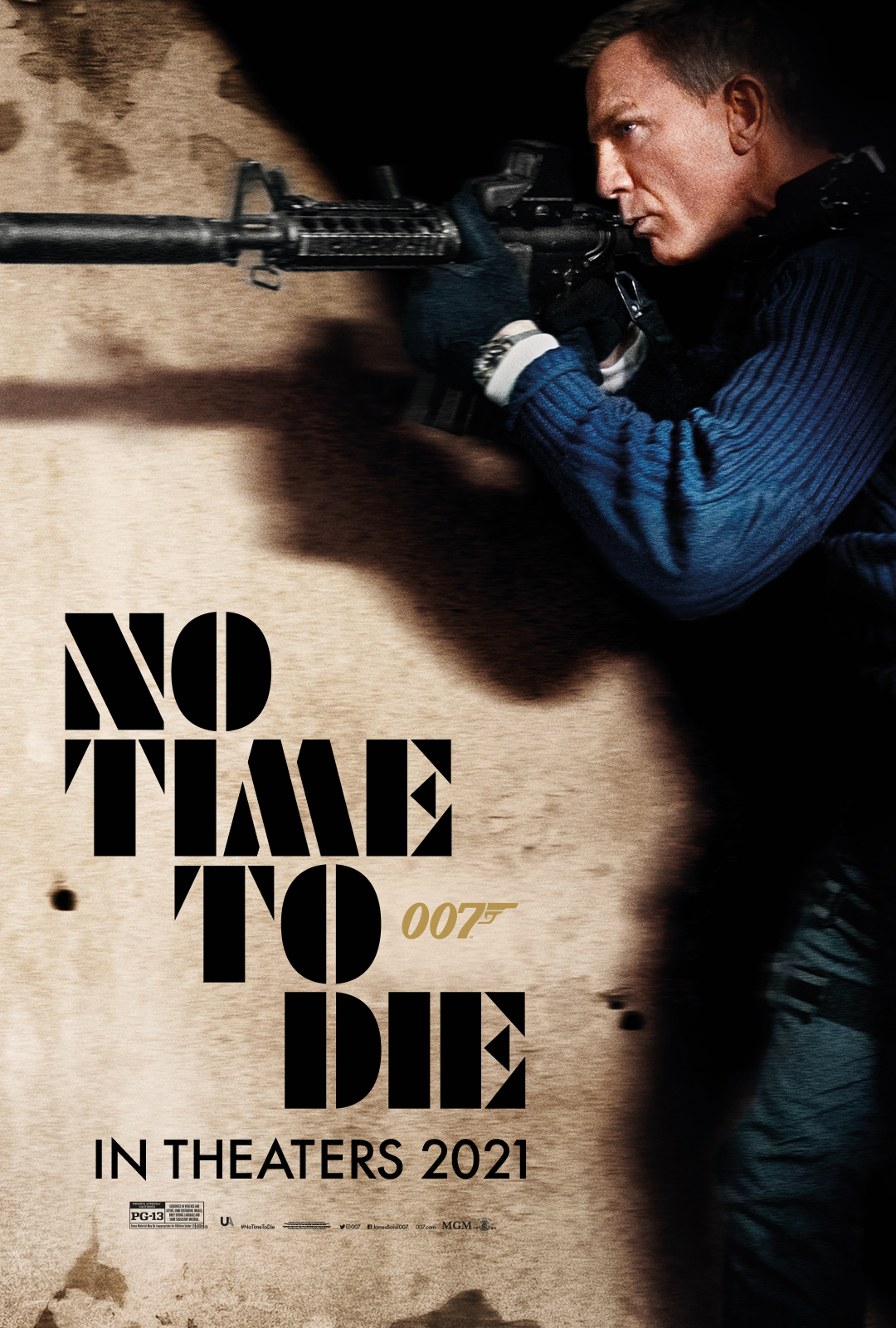 No Time to Die movie poster of Daniel Craig's profile as he is holding a gun