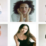 Collation of six images, each image of a model posing for the camera