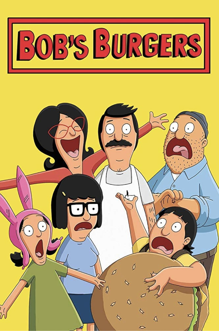Bob's Burgers: The Movie movie poster with Bob looking miserable while his family have their mouths open as if singing (terribly)