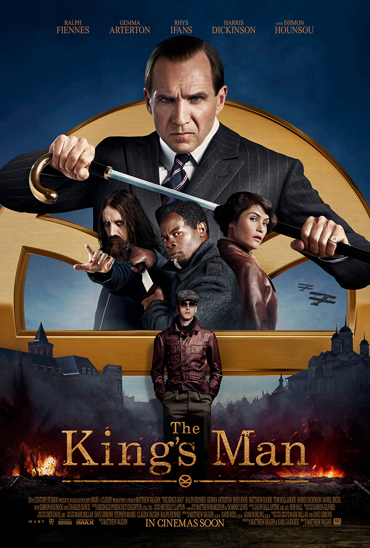 Image of Ralph Fiennes opening a sword and three upperbodies of two men and a woman and in front of them is a man standing with a hat and sunglasses.