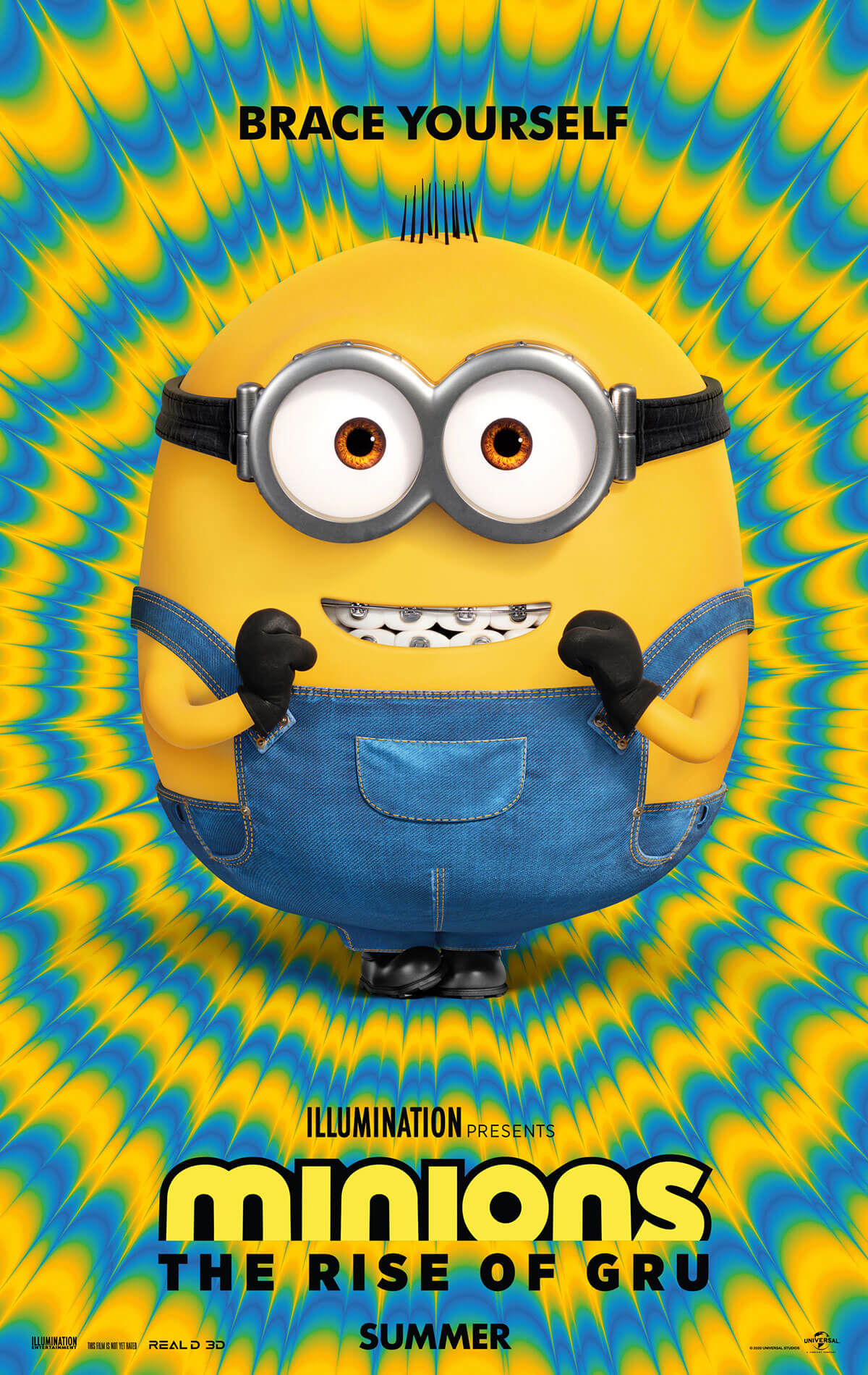 Psychedelic blue and yellow circle background with Bob the Minion smiling