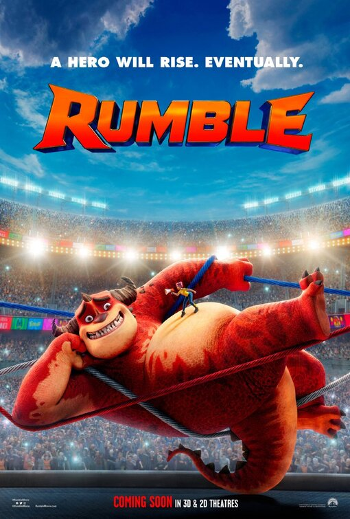 Rumble movie poster of a huge monster (Rumble) tangled in the cables of a boxing ring with a human on his stomach holding a megaphone