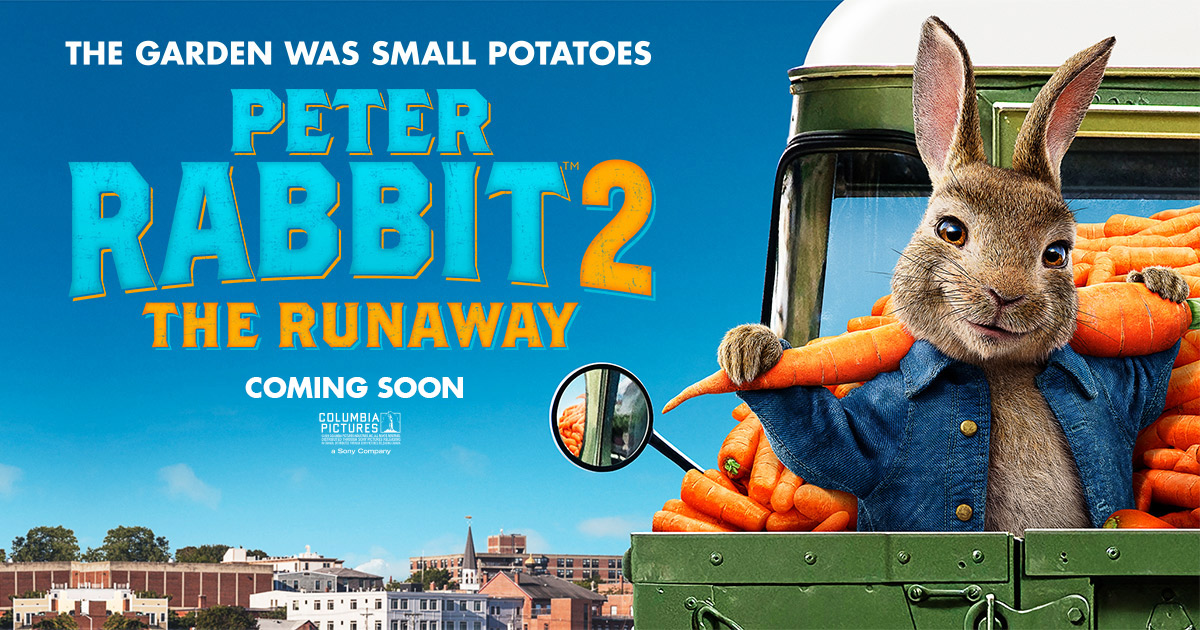 """The garden was small potatoes"" Peter Rabbit 2: The Runaway movie poster"