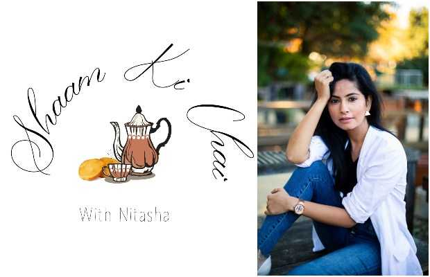 Image Description: Shaam Ki Chai's logo on the left, with Nitasha Syed's picture on the right. Source: Dope Desi Team