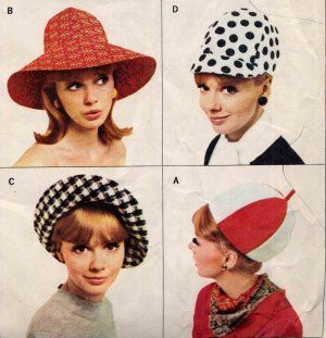 Four pictures of a blonde woman posing in different mod culture bucket hats from the 1960s.